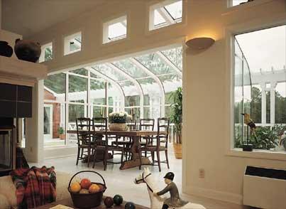 Glass roof sunroom or solarium with wood interior for Second floor sunroom