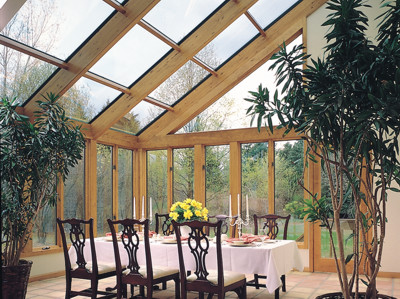 Straight Glass Roof Sun Room Or Solarium With Wood