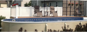 This is an image of an above ground pool with hard sides.